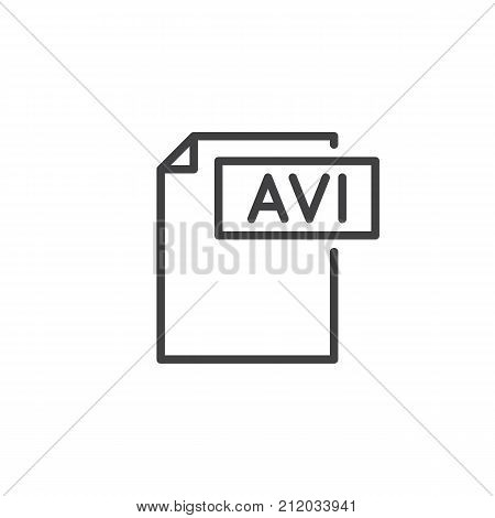 Avi format document line icon, outline vector sign, linear style pictogram isolated on white. File formats symbol, logo illustration. Editable stroke