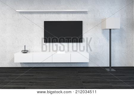 Modern Living Room With Empty Tv