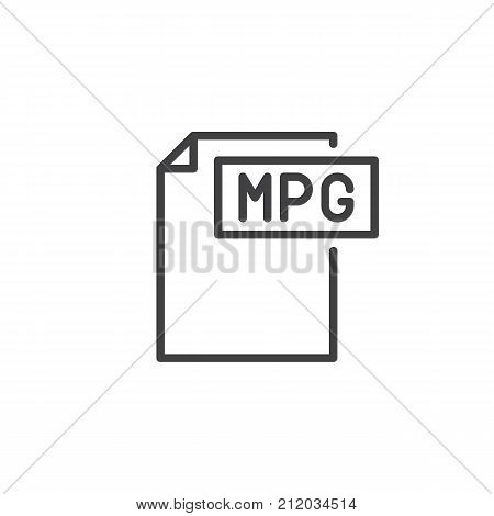 Mpg format document line icon, outline vector sign, linear style pictogram isolated on white. File formats symbol, logo illustration. Editable stroke