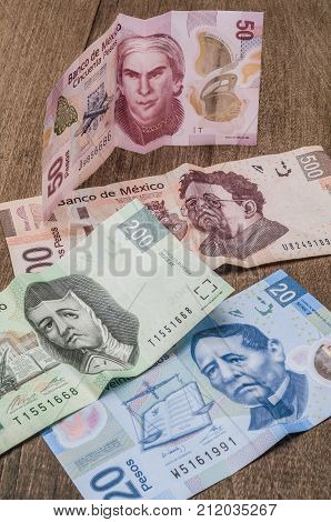 The 20 50 200 and 500 mexican pesos banknotes appear to be sad perhaps because of its weakness against the dollar.