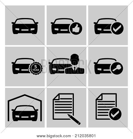 Set of gray car icons for shopping with all the documents on a white background