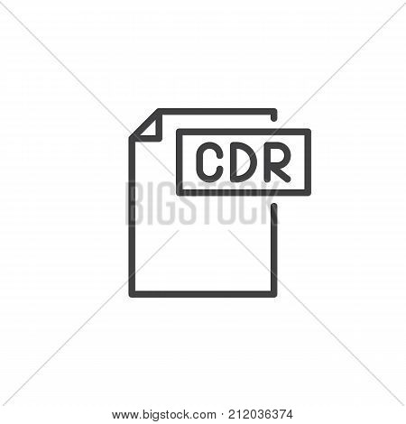 Cdr format document line icon, outline vector sign, linear style pictogram isolated on white. File formats symbol, logo illustration. Editable stroke
