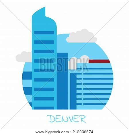 Icon of the city of Denver with blue skyscrapers and gray clouds on a white isolated background and the inscription Denver
