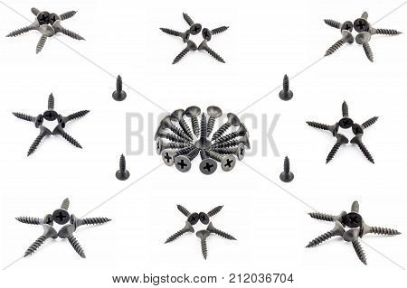 Eight Stars Four Single And Onecircular Composition With Black Oxidized Self-tapping Screw Isolated