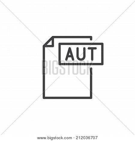 Aut format document line icon, outline vector sign, linear style pictogram isolated on white. File formats symbol, logo illustration. Editable stroke
