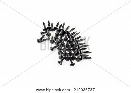 Illustration Hedgehog Drawing With Black Screws On White Background