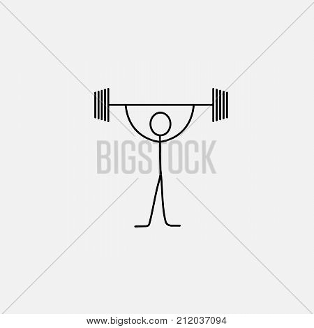 Cartoon icon sport of sketch little vector man power lifter