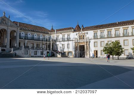 Coimbra, Portugal - august 2016: Ancient University Square in the city of Coimbra Portugal.