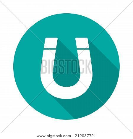 Magnet circle icon with long shadow. Flat design style. Magnet simple silhouette. Modern minimalist round icon in stylish colors. Web site page and mobile app design vector element.
