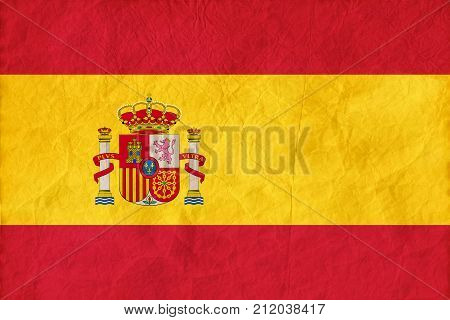 Spain Flag On Paper Texture Background