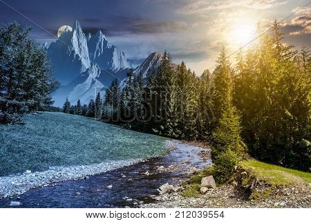 fairy tale mountainous summer landscape at night in full moon light. composite image with high rocky peaks above the mountain river in spruce forest. day and night time change concept
