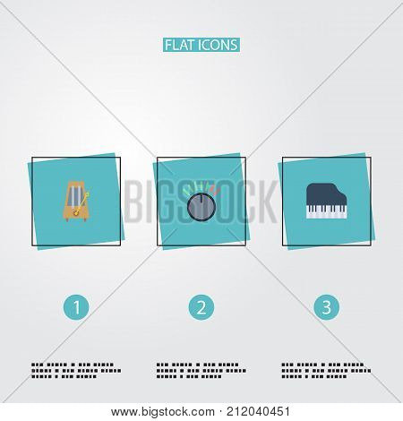 Flat Icons Knob, Octave Keyboard, Rhythm Motion And Other Vector Elements