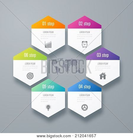 Vector illustration infographics six options. Data and information visualization. Dynamic infographics stylish geometric. element for design business invitations, gift cards, flyers and brochures