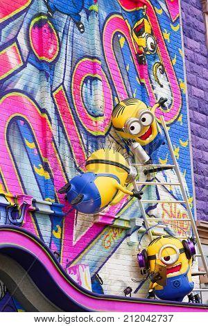 Osaka, JAPAN - NOVEMBER 03 2017: Statue of Minions from Despicable Me Minion Mayhem Movie at Minion Park in Universal Studios JAPAN.Universal Studios JAPAN is a theme park in Osaka.