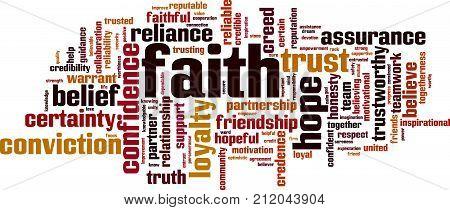 Faith word cloud concept. Vector illustration on white