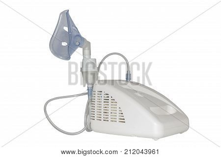 Inhaler isolated on white background. Medical device for inhalation with mask and tubes.