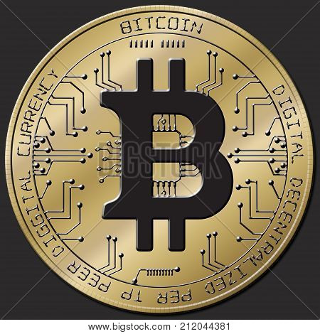 Bitcoin blockchain - bitcoin wallet concept for world wide virtual money electronic payment. Gold Bitcoin isolated black background