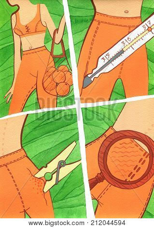 Girl learn cellulitis with the help of clothes-peg magnifying glass thermometer comic style