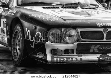 SAN MARINO, SAN MARINO - OTT 21 -2017 :LANCIA RALLY 037 old racing car rally THE LEGEND 2017 the famous SAN MARINO historical race