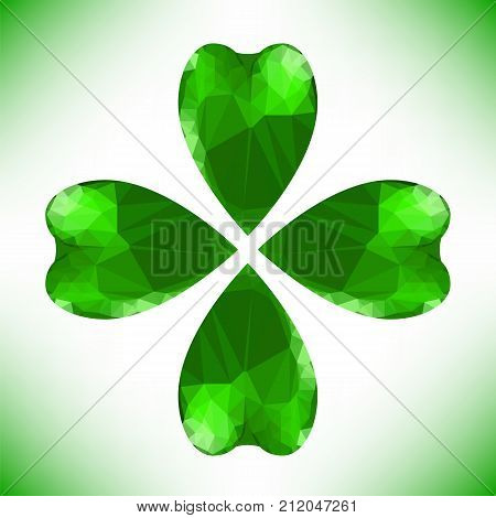 Four leaf clover Irish shamrock St Patrick s Day symbol. Green glass clover isolated on white background. Stylish abstract St. Patrick s day background with leaf clover.