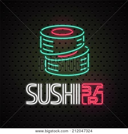 Vector logo design element for sushi sushi delivery service with neon lights sign. Design element can be used as sticker