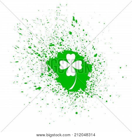Four- leaf clover - Irish shamrock St Patrick's Day background. Green glass clover on green background. Stylish abstract St. Patrick's day background with leaf clover.