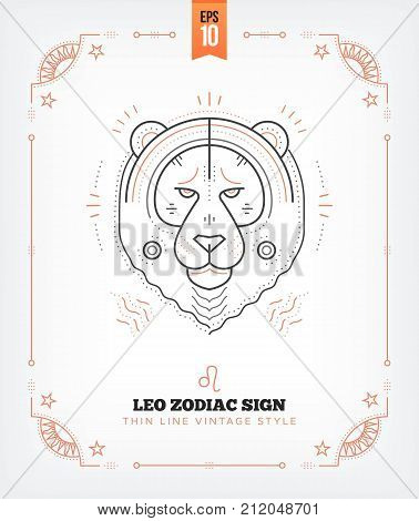 Vintage thin line Leo zodiac sign label. Retro vector astrological symbol, mystic, sacred geometry element, emblem, logo. Stroke outline illustration. Isolated on white background.