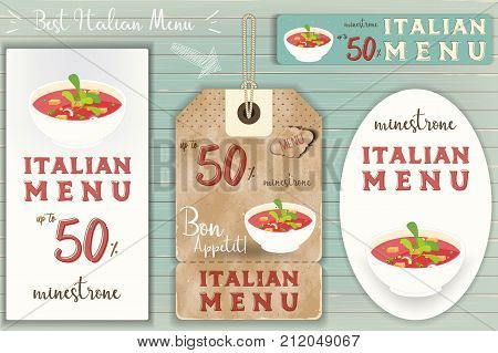 Italian Minestrone Stickers Set on Blue Wooden Background in Retro Style. Vector Illustration.