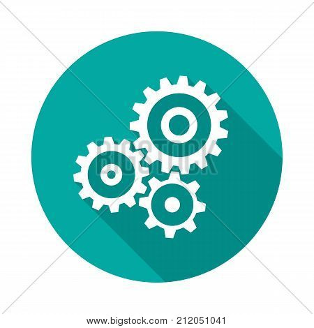 Cogwheel gear circle icon with long shadow. Flat design style. Mechanism simple silhouette. Modern minimalist round icon in stylish colors. Web site page and mobile app design vector element.