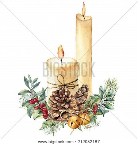 Watercolor Christmas candles with holiday decor. Hand painted candle, holly, christmas tree branch and bell isolated on white background. Christmas botanical print for design or print. Holiday card