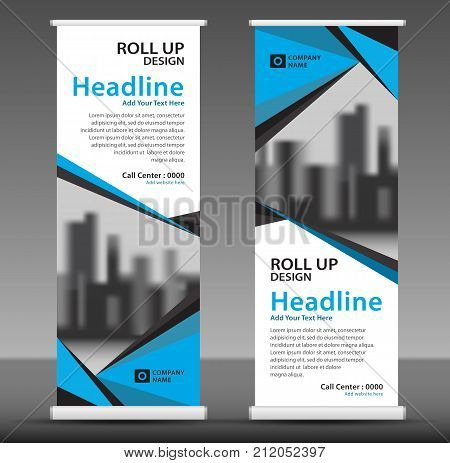 Blue Roll Up Banner Template, Flyer Layout