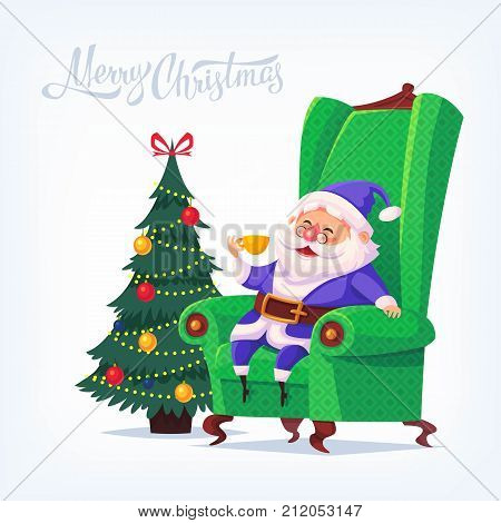 Cute cartoon blue suit Santa Claus sitting in chair drinking tea Merry Christmas vector illustration Greeting card poster