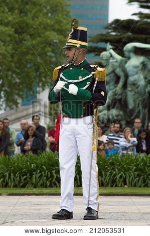 MONTEVIDEO, URUGUAY - OCTOBER 8, 2017: Captain of the Florida battalion.