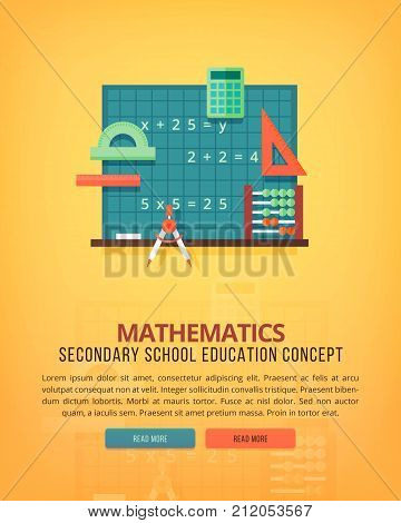 Set of flat design illustration concepts for mathematics. Education and knowledge ideas. Mathematic science. Concepts for web banner and promotional material.