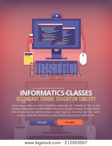 Information technology. Education and science vertical layout concepts. Flat modern style.