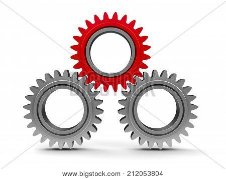 Three gears with red gear - team cooperation concept three-dimensional rendering 3D illustration