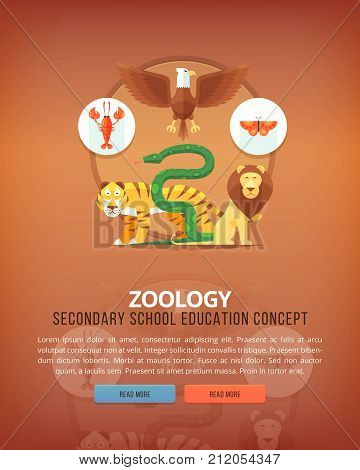Education and science concept illustrations. Zoology, animals study. Science of life and origin of species. Flat vector design banner.