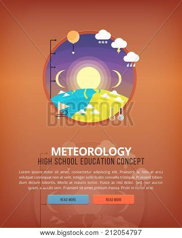 Education and science concept illustrations. Meteorology . Science of Earth and planet structure. Knowledge of athmospherical phenomena. Flat vector design banner.