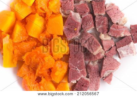 Brazilian Jaba Com Jerimum. Jerked Beef Or Dry Meet With Pumpkin
