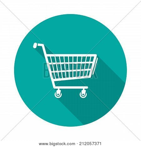 Shopping cart circle icon with long shadow. Flat design style. Shopping cart simple silhouette. Modern minimalist round icon in stylish colors. Web site page and mobile app design vector element.