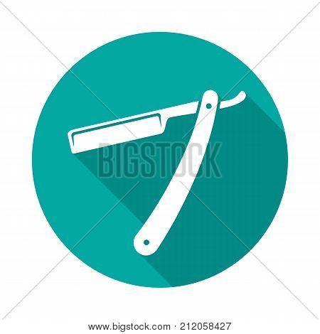 Straight razor circle icon with long shadow. Flat design style. Straight razor simple silhouette. Modern minimalist round icon in stylish colors. Web site page and mobile app design vector element.