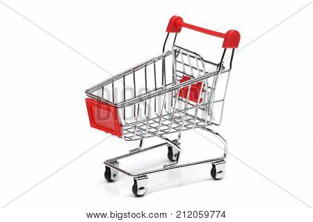 An empty trolley isolated on whte background