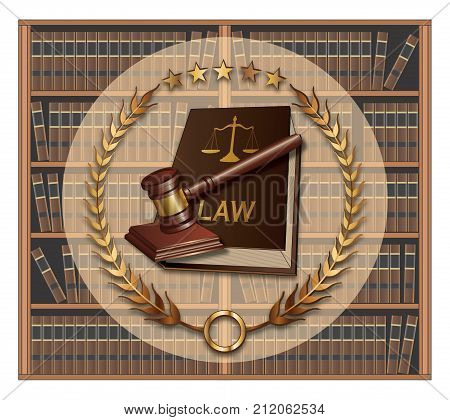 Lawyer - Law School is an illustration of a law or lawyer emblem that includes a law book and gavel. It has a background of bookshelves filled with book as you would see in a library.