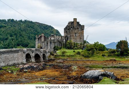 Eilean Donan Castle, Loch Duid, Highlands, Scotland, United Kingdom. The castle was founded in the thirteenth century, and became a stronghold of the Clan Mackenzie and their allies the Clan Macrae