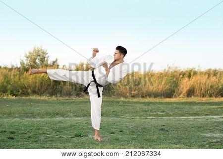 Young man practicing karate outdoors