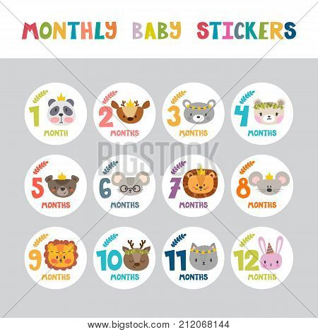 Monthly Baby Stickers For Little Girls And Boys. Month By Month Growth Stickers For Clothing. Cute C