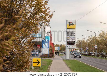 Roadside Gas Station frontshowing Prices information Vienna Austria 2.11.2017