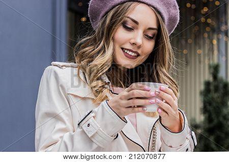 Enjoying Tasty Coffee. Girl Enjoying Coffee.