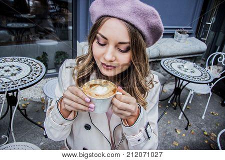 It Smells Pretty Tasty. Woman Drinking Coffee.
