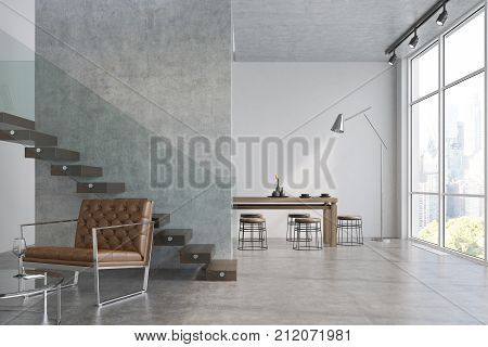 Modern Living Room, Armchair And A Table